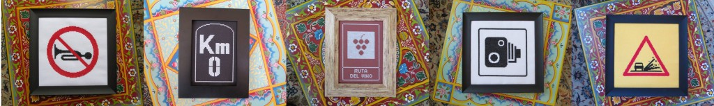 road sign cross stitch patterns - no horns, milemarker 0, wine route, speed camera, loose chippings