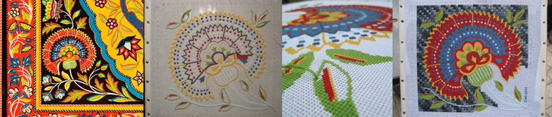A series of photos that show the progress on my Persian flower needlework project