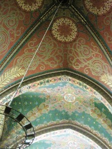 benefits of traveling - portion of the ceiling of a church in Oloron Sainte Marie