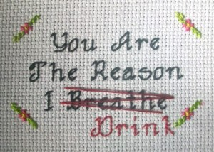 acrafty interview whateverjames cross stitch you are the reason I drink