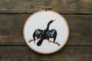 ACrafty Interview - whatnomints - anhinga bird embroidery