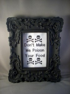 ACrafty Interview - Katie Kutthroat don't make me poison your food cross stitch