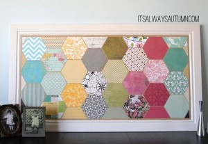 hexagon crafts - scrapbook paper wall art by itsalwaysautumn