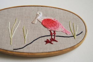ACrafty Interview - whatnomints - spoonbill embroidery finished