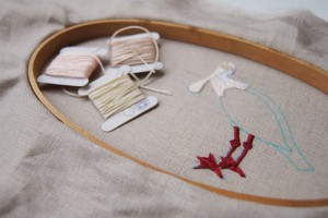 ACrafty Interview - whatnomints - spoonbill embroidery in progress