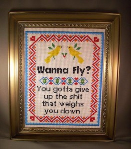 ACrafty Interview - Katie Kutthroat wanna fly cross stitch