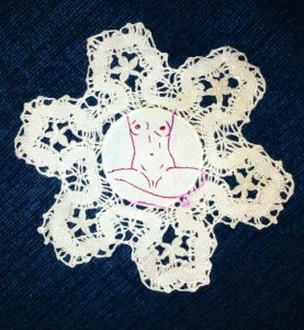 acrafty interview - schinderman - nude woman embroidered doily 1