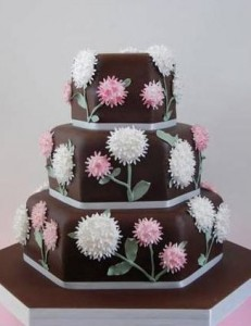 hexagon crafts part 4 - hexagon chocolate wedding cake with flowers