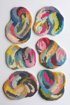 acrafty interview - cresus-parpi - impromptu coaster set 16 needlepoint