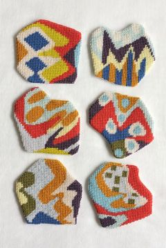acrafty interview - cresus-parpi - impromptu coaster set 5 needlepoint