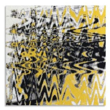 acrafty interview - cresus-parpi - mwwm bright yellow wave interference needlepoint project