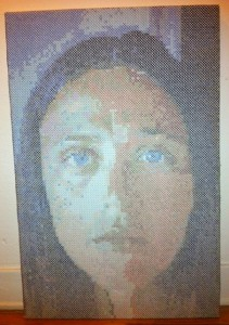 acrafty interview - schinderman - portait of mother as a young woman large scale cross stitch
