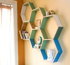 hexagon crafts part 3 - diy honeycomb shelves