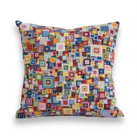 acrafty interview - cresus-parpi - shikaku colorful squares needlepoint cushion