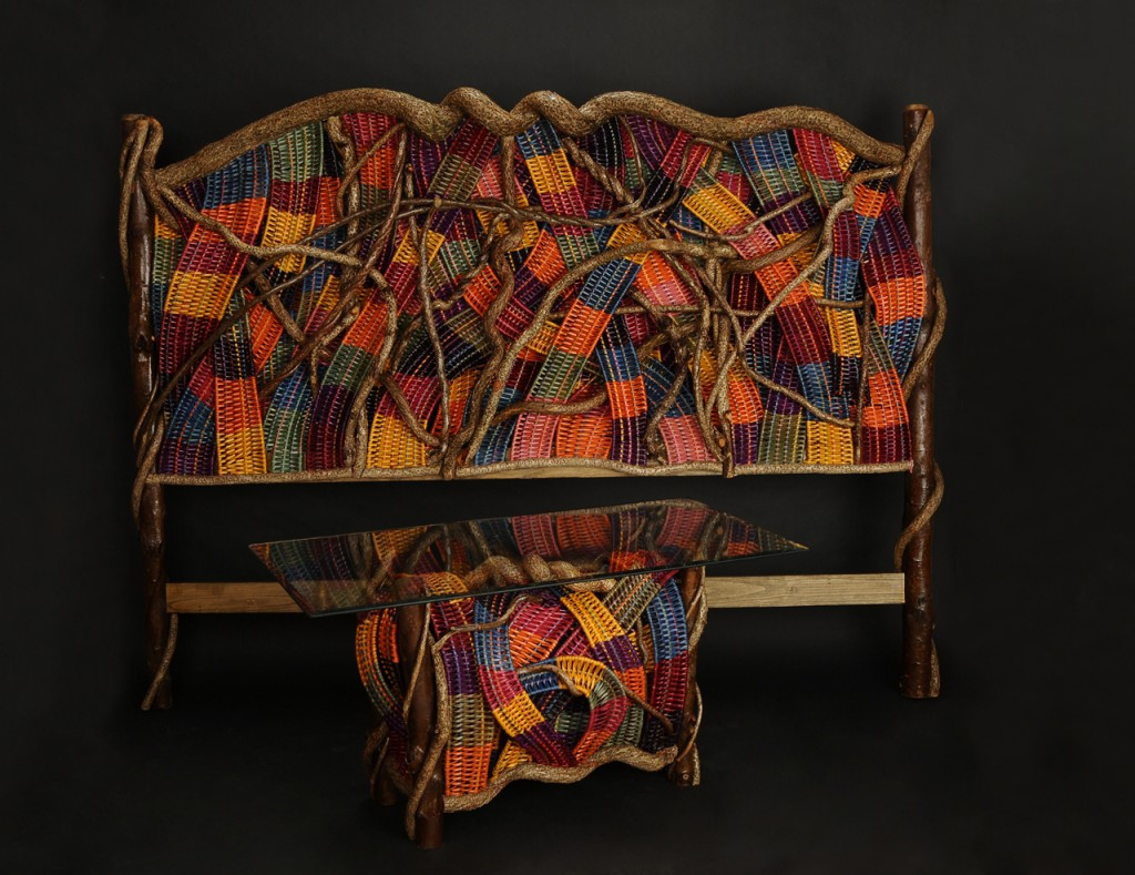 acrafty interview - tinas baskets woven headboard and end table base
