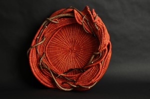 acrafty interview - tinas baskets orange tray weaving