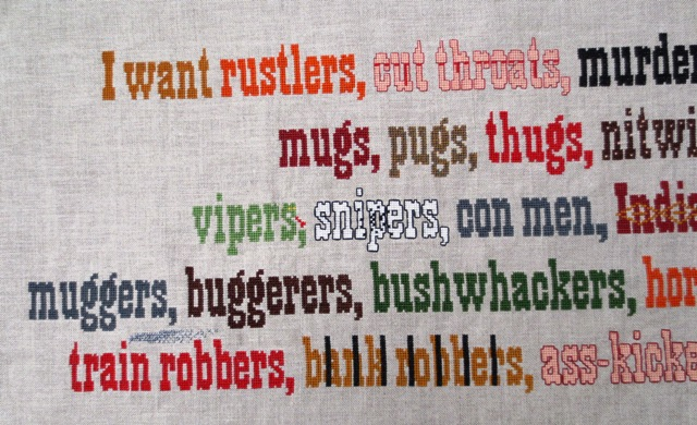 blazing saddles quote cross stitch project stitching complete left half I want rustlers... and Methodists!