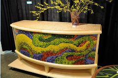 healthy water themed crafts part 2 - credenza with doors covered in polymer clay