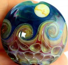 healthy water crafts - lampwork bead with wave pattern