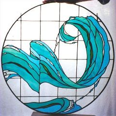 healthy water themed crafts part 2 - modern stained glass wave by atmospheric glass
