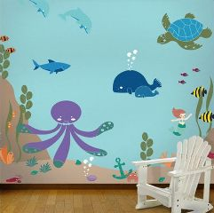 healthy water themed crafts part 3 - undersea mural stencils