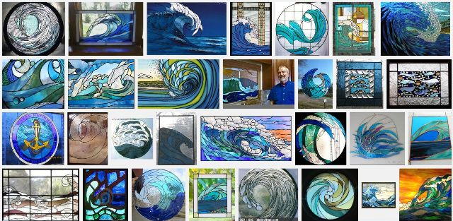 healthy water themed crafts part 2 - google result on stained glass wave