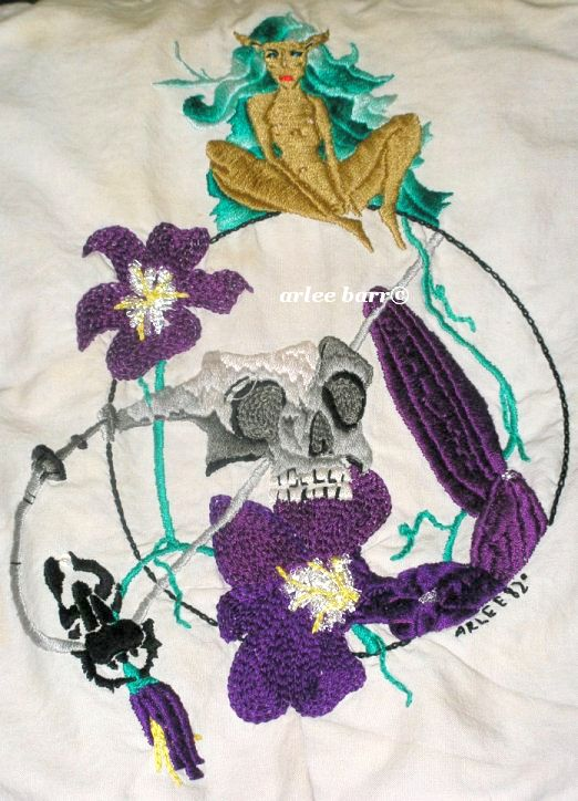 acrafty interview - arlee barr embroidery for vest from original pen and ink drawing