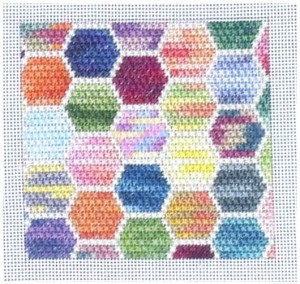 variegated floss projects - hexagon needlepoint