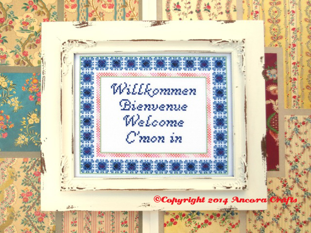 blazing saddles cross stitch pattern willkommen bienvenue welcome c'mon in