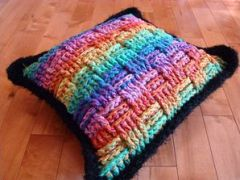 variegated floss projects part 5 - basketweave crochet pillow
