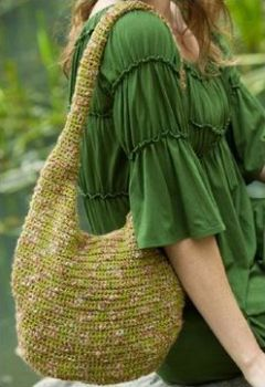 variegated floss projects part 5 - crochet hobo bag