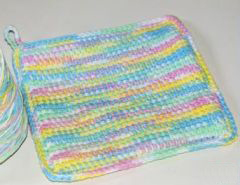 variegated floss projects part 5 - crochet potholder pastel