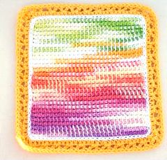 variegated floss projects part 5 - crochet potholder watercolor