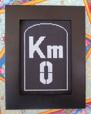 DMC glow in the dark floss E940 - KM0 glow in the dark street sign cross stitch daylight