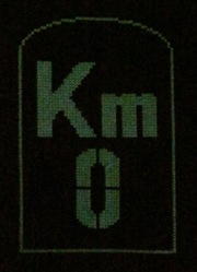 DMC glow in the dark floss E940 - KM0 glow in the dark street sign cross stitch in the dark