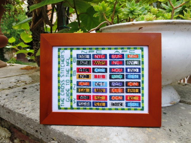 cross stitch guide to the NFL - photo on ledge