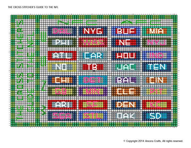 cross stitch guide to the NFL pattern
