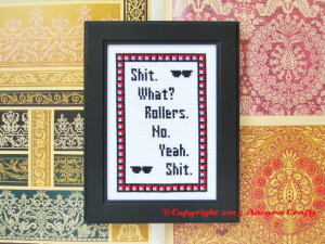 blues brothers cross stitch pattern shit. what. rollers. no. yeah. shit