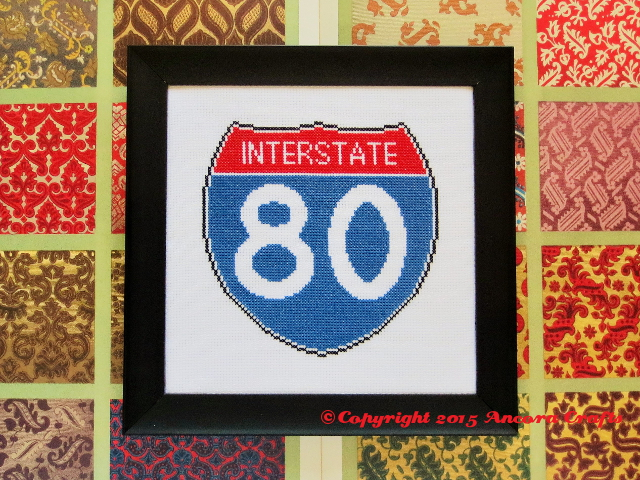 interstate cross stitch road sign pattern and kit