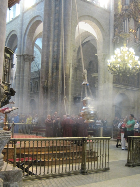 camino de santiago cross stitch - censer in action in cathedral