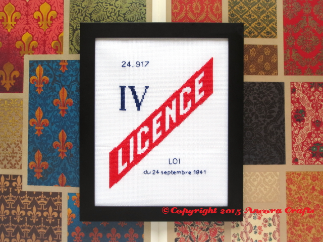 french liquor license cross stitch pattern