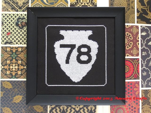montana road sign cross stitch arrowhead