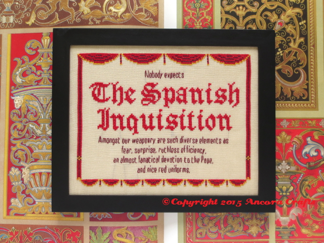 monty python spanish inquisition cross stitch project
