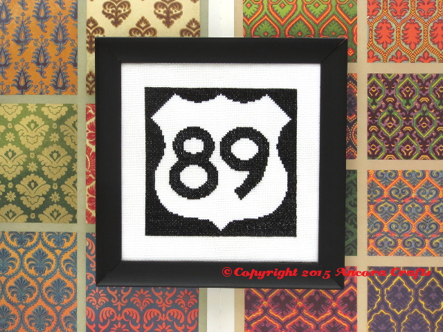 us highway cross stitch road sign