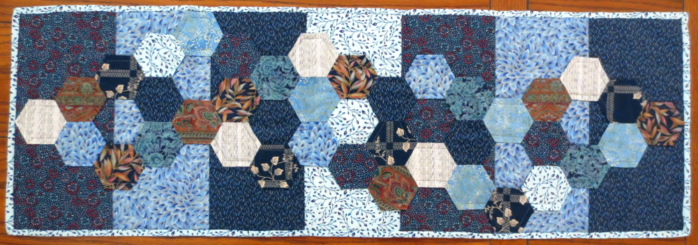 hexagon table runner project hexie layout