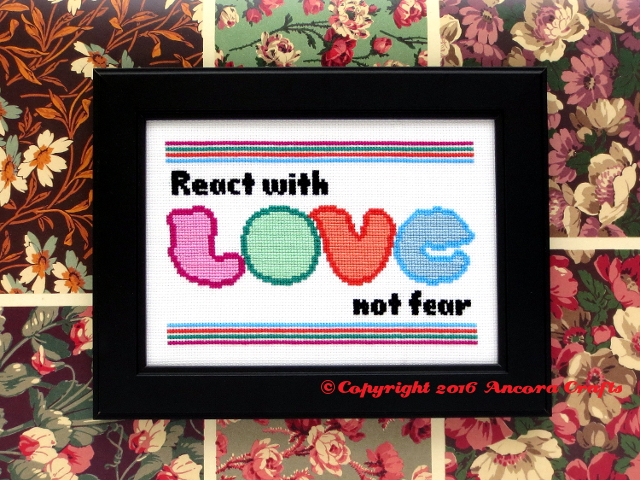 react with love cross stitch pattern