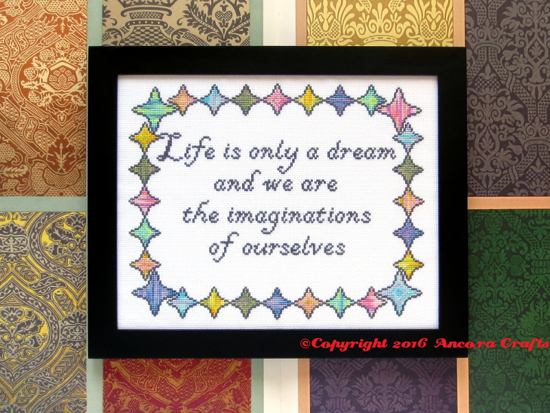 bill hicks cross stitch life is only a dream and we are the imaginations of ourselves