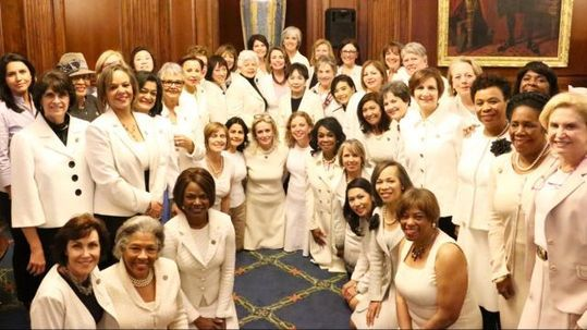 deeds not words cross stitch democratic women wearing white