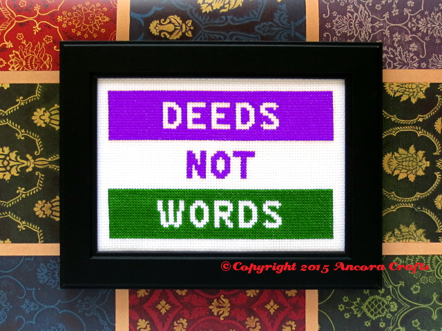 deeds not words cross stitch pattern suffragette banner