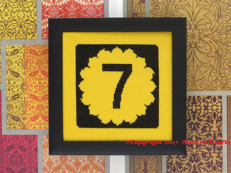 kansas highway road sign sunflower cross stitch pattern